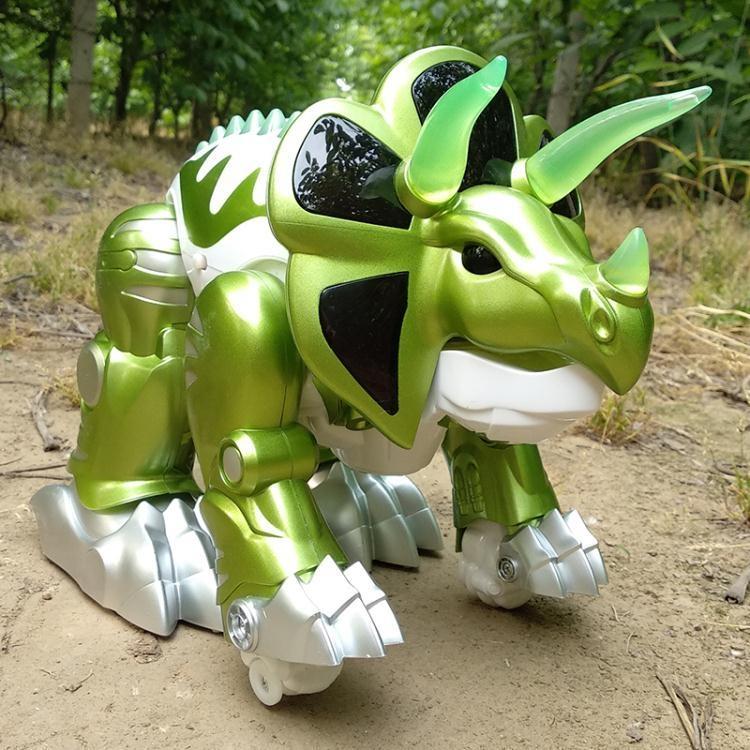 變形恐龍玩具霸王三角龍仿真動物模型電動遙控禮物對戰機器人