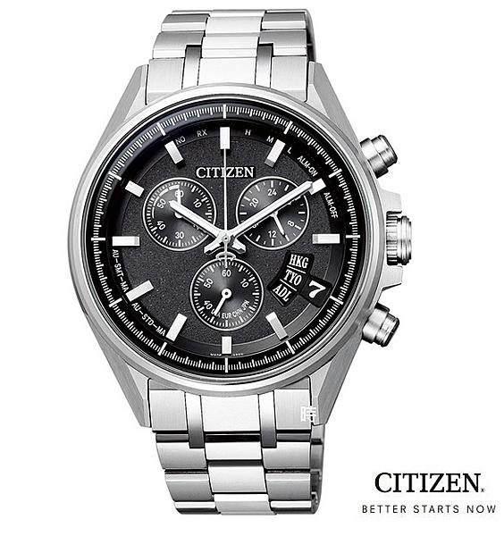 CITIZEN/星辰 光動能電波錶 鈦金屬 三眼計時男錶 (BY0140-57E) 限量黑/43.7mm