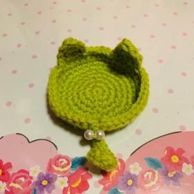 コースター 猫耳デザイン 黄緑色