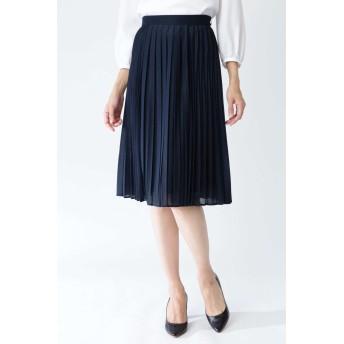 NATURAL BEAUTY ◆エスパンディコンビプリーツスカート ひざ丈スカート,ネイビー
