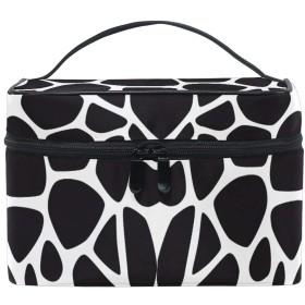ブラックホワイトアート化粧品袋オーガナイザージッパー化粧バッグポーチトイレタリーケースガールレディース