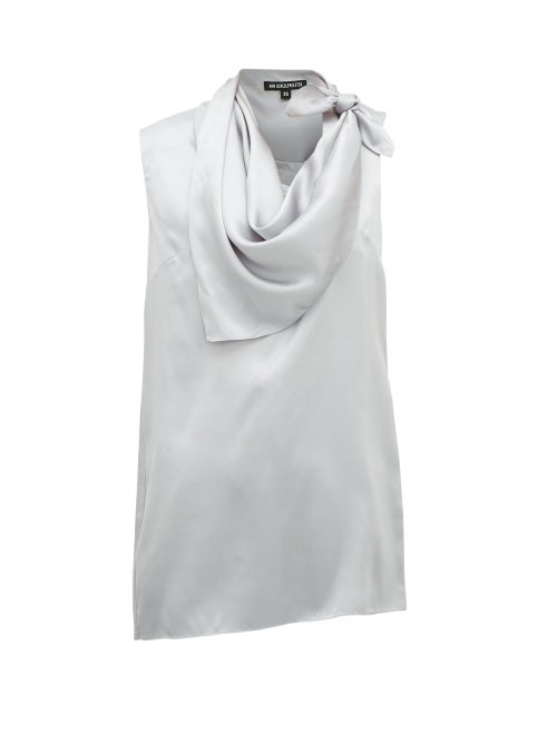 Ann Demeulemeester - Knotted Handkerchief-neck Silk-satin Top - Womens - Light Blue