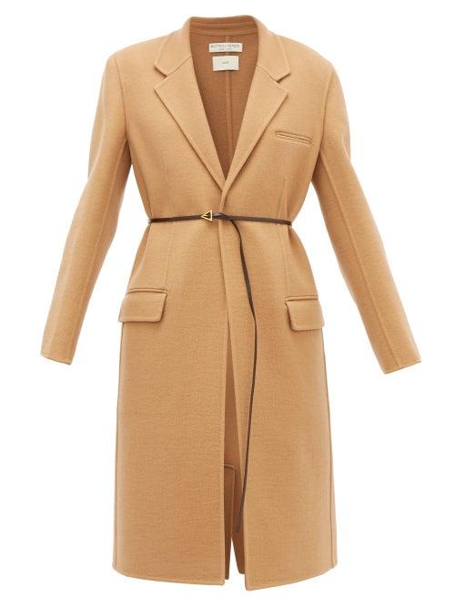 Bottega Veneta - Single-breasted Belted Cashmere Coat - Womens - Camel