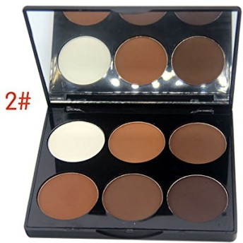 Mallofusa Six Color Compact Powder Palette Pressed Powder Makeup Shimmer Grooming 0.524oz #2