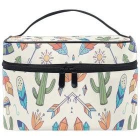 アートサボテン化粧品袋オーガナイザージッパー化粧バッグポーチトイレタリーケースガールレディース