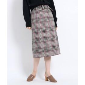 【AG by aquagirl:スカート】【Lサイズあり】ツィードチェック柄ベルト付タイトスカート