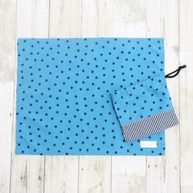入園入学*裏地なし・マチ付き・男の子のための星柄コップ袋&大きめランチョンマット