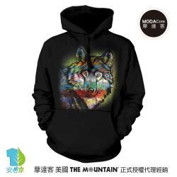 摩達客 (預購) ▶美國The Mountain 手繪狼  環保藝術長袖連帽T恤
