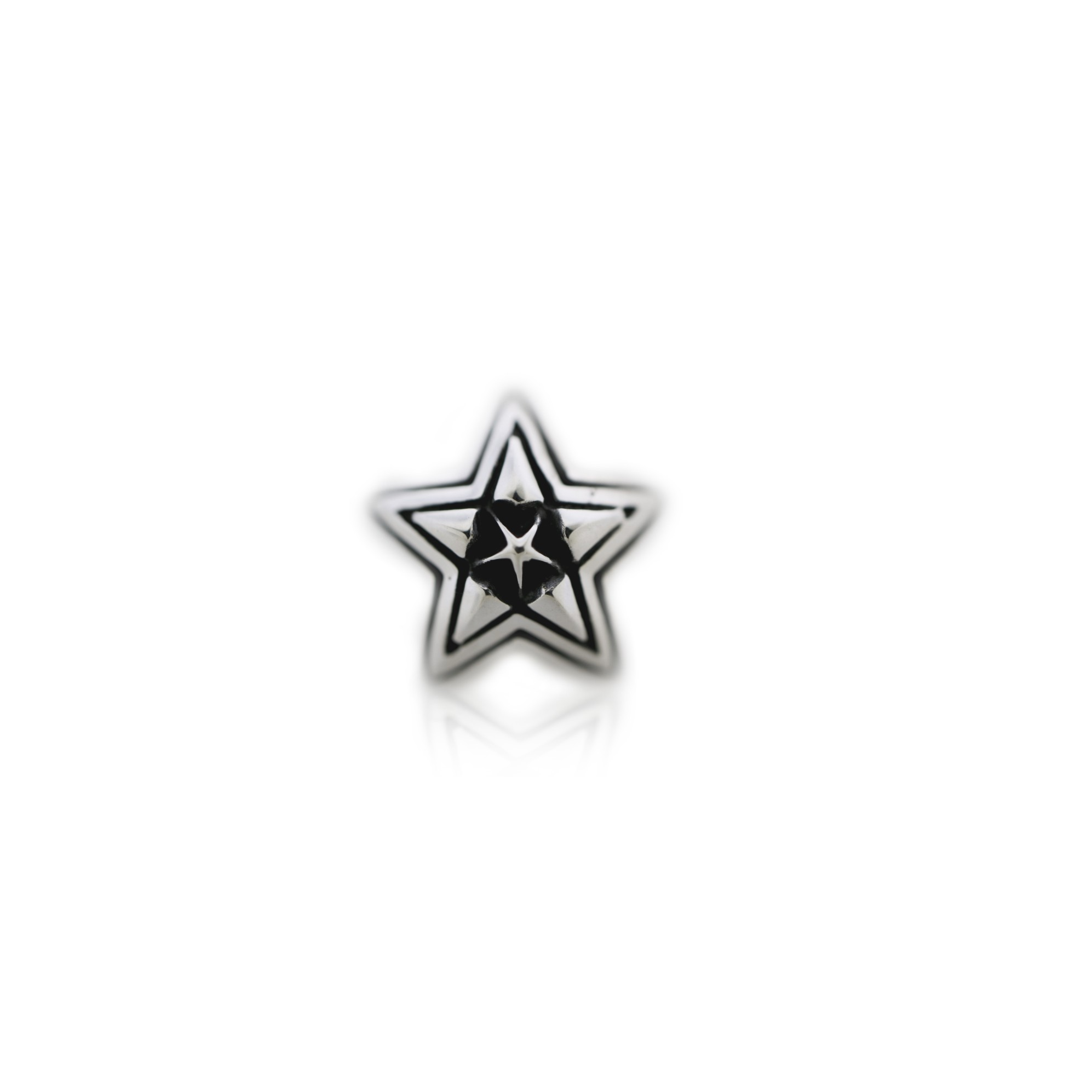 TINY DOUBLE FACE STAR IN STAR STUD PENDANT + SMALL STAINLESS BEAD CHAIN  [USD $410]