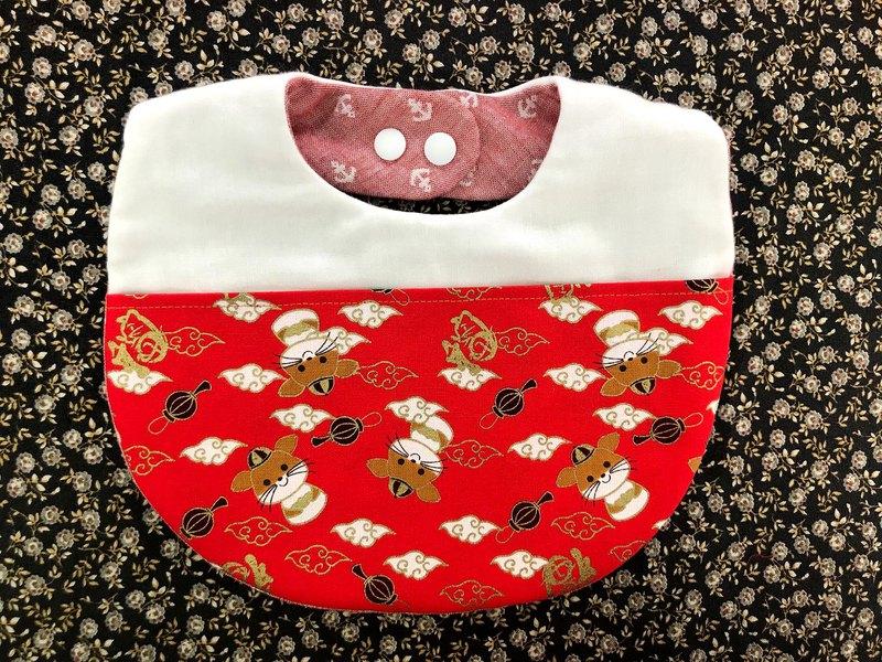 鼠來寶春節口袋拼接圍兜兜 寶寶收紅包 紅包收飽飽