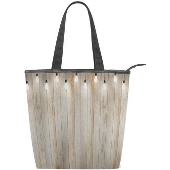 KENADVIトートバッグ 最高級 軽量 キャンバス レディース ハンドバッグ 通勤 通学 旅行バッグ、素朴なシンプルな木の板の国のシーンに農家の軽量化電球、スタイリッシュ グラフィックス 収納袋