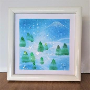 原画【雪山とスターダスト A】額込 パステルアート