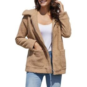Qazon レディースコート 日常着のために女性の長袖ダブルポケットジッパーショートぬいぐるみコート (Color : Khaki, Size : XL)