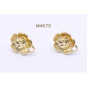 M4670 12個 ピアス金具 フラワー カン付き 13×16mm ゴールド 3×【4ヶ】