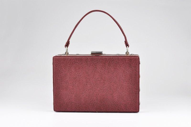 简约輕復古手提包 晚宴包 迷你手提箱 酒紅色