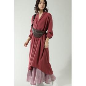 ROSE BUD ローズバッド 【予約販売】タック入りスキッパーワンピース ピンク