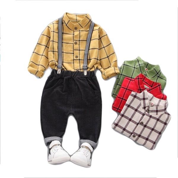 長袖套裝 英倫格紋 格子襯衫上衣 條紋長褲 附彈力吊帶 寶寶童裝 CK7556 好娃娃