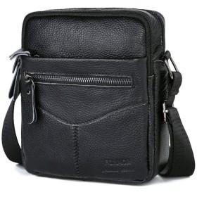 メッセンジャーバッグ, 仕事のための複数のポケット付きメンズレザーショルダーバッグサッチェルバッグ, 学校, 旅行と日常の使用-黒