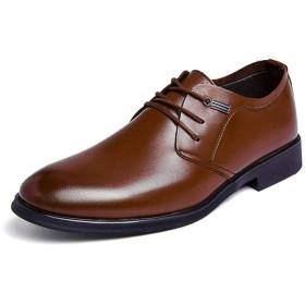 [GERUIQI] 古典的なピュアカラーレースアップフォーマルシューズメンズファッションオックスフォードカジュアルシンプル 快適な男性のために設計 (Color : Brown, Size : 39 EU)
