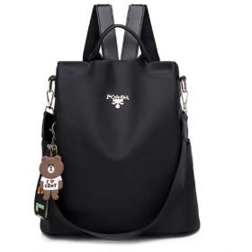 女性オックスフォードバックパックファッションビッグフローラルバックパック女性の盗難防止バックパックスクールバッグ用ティーンエイジャーの女の子plecakバックパック (Color : Black, Size : M)