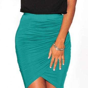 Vktech レディース セクシータイトスカート 膝丈 無地 夏 スリム パーティードレス OL 全3色選べる (グリーン)