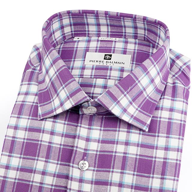 皮爾帕門pb紫色格紋、休閒保暖、百搭襯衫外套67171-08 -襯衫工房
