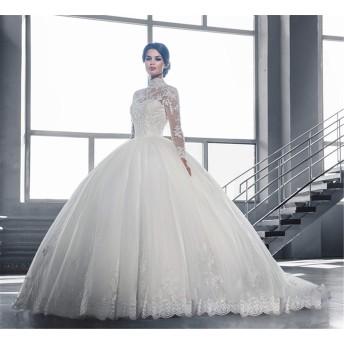 女性の結婚式チュールエレガントなレースのワンショルダーロングスリーブブライダルパーティーイブニングドレス (Color : US:14 (4XL))