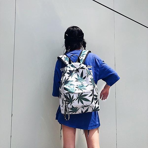 帆布後背包-亮面楓葉印花大容量女雙肩包3色73wy6【時尚巴黎】