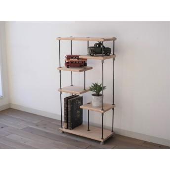 wood iron shelf 740400180(シェルフ アイアン 棚 ラック ウッド 鉄 木 収納棚 アンティーク ビンテージ シャビー 植物 オープンラック 両面棚 )