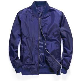 メンズジャケットコート薄い春メンズジャケットソリッドコート男性カジュアルレッドジャケットアウトドアオーバーコート、ブルー、M