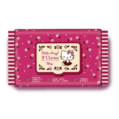 Sanrio 三麗鷗 Hello Kitty 凱蒂貓 手口加蓋濕紙巾70抽 X 12包/組