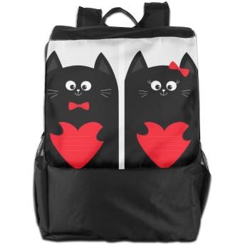ラブ 夫婦 黒猫 バックパックリュック 大容量 メンズ バックパック カジュアルバッグ オシャレ旅行バッグ 通勤 通学 男女兼用バッグ 黒