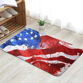 旗アメリカ手描き水彩画白楽しい歓迎玄関マット屋内フロアマットリビングルームベッドルームバスルームドアマット 60x40cm