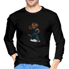 CGQ Tシャツ 長袖 ゆったり プリント おしゃれ メンズ 無地 綿 カンフーパンダおもしろシャツ 冬 メンズシャツ レディースシャツ 青年 快適 丸襟 Black L