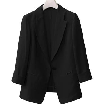 Heaven Days(ヘブンデイズ) テーラードジャケット 麻 リネン ジャケット 一つボタン サマージャケット カジュアルジャケット 七分袖 レディース 1905E0123