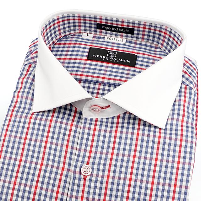 皮爾帕門pb年輕細格紋、配白領、進口素材、都會品味、休閒長袖襯衫63117-03 -襯衫工房