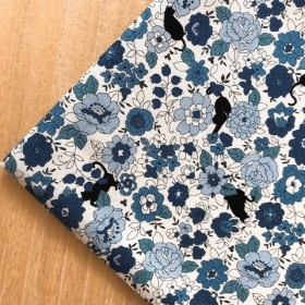 ※【オックス50×50】黒猫と花・ブルー