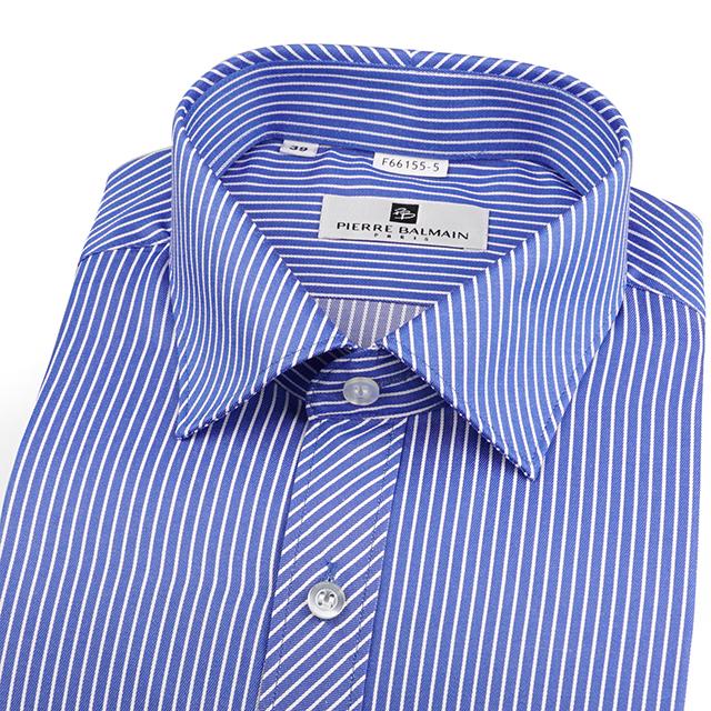 皮爾帕門pb藍底白條紋、門襟斜紋設計、品味合身長袖襯衫66155-05 -襯衫工房