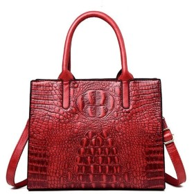 女性トートショルダーバッグワニハンドバッグ女性ワニパターン本革ヴィンテージバッグ (Colore : Red, Size : M)