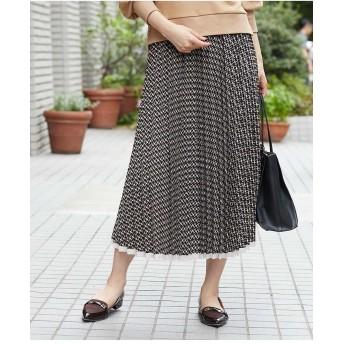 OFUON ジオメパターンプリーツスカート その他 スカート,ブラック