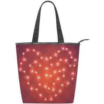 KENADVIトートバッグ 最高級 軽量 キャンバス レディース ハンドバッグ 通勤 通学 旅行バッグ、ロマンチックなバレンタインデーの抽象的な心、スタイリッシュ グラフィックス 収納袋