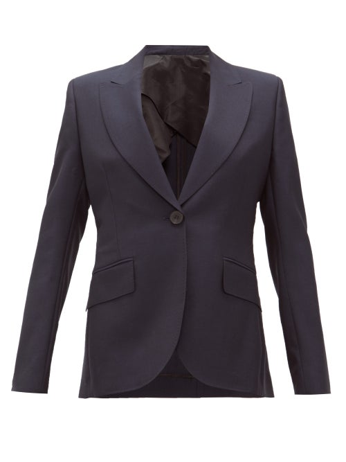 Ssone - Metta Single-breasted Wool-blend Jacket - Womens - Navy