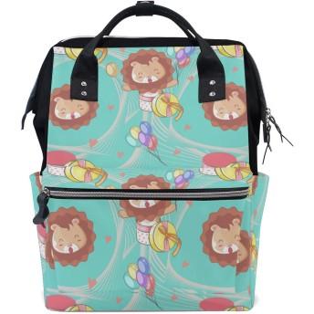 かわいい赤ちゃんパーティーライオンズ 旅行 バックパック 大おむつ オムツ バッグ ラップトップ バックパックレディース メンズ 用