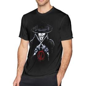 クラシックV for VendettaクラシックファニーメンズショートスリーブコットンTシャツブラックXL