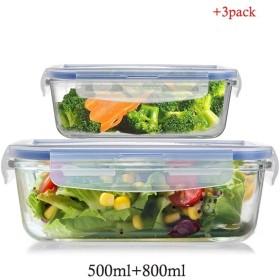 ホームキッチン鮮明、PPプラスチック食品ストレージボックス食品ストレージボックスの300ミリリットル、500ミリリットル、800ミリリットル封印されました (Size : 500ml+800ml)