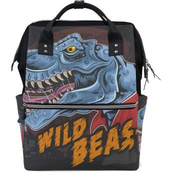 恐竜T-Rexワイルドビースト 旅行 バックパック 大おむつ オムツ バッグ ラップトップ バックパックレディース メンズ 用
