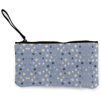 キラキラスター 口紅、コイン、現金、クレジットカード、ヘッドセット、USB用のジッパー付きキャンバス小銭入れ小さなかわいいポーチ