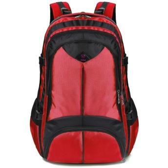 男性バックパック大容量屋外用男性バッグカジュアルバックパックユニセックスブラックトラベルバックパック赤 40x60x20cm