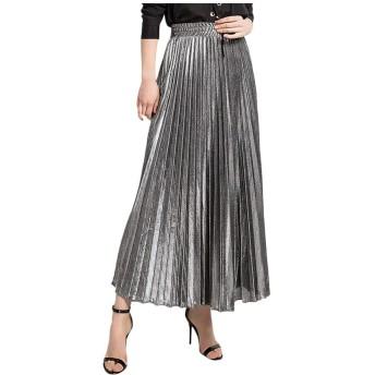 服女性春固体ハイウエストスカートレディースファッション弾性プリーツロングスカート、シルバー、S