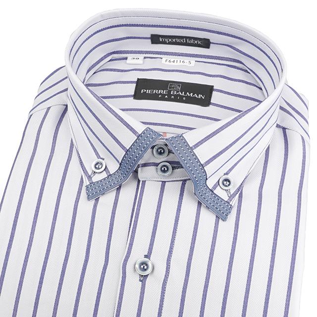 皮爾帕門pb灰底藍寬條、双釦領加領釘釦之變化領、歐風合身長袖襯衫64116-05 -襯衫工房